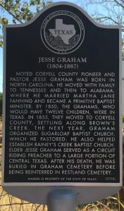 historical marker for Jesse Graham at Restland Cemetery Gatesville Texas 2